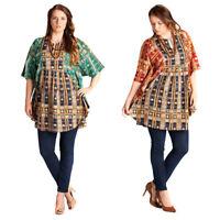 VELEZRA Womens Boho Kaftan Bohemian Chic Half Sleeve Tunic Top Blouse S M L