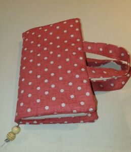 Book  Bag, Bible Cover, Red polka dot Fabric with wooden beaded bookmark