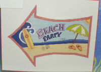 """BEACH PARTY Counted Cross Stitch Kit 8"""" X 10"""" Janlynn sign sea surfing pool"""