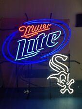 (L@K) Miller lite beer chicago white sox baseball neon light up bar sign mib