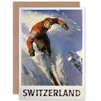 Travel Winter Sport Skiing Snow Skiier Switzerland Blank Greeting Card