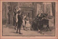 CHRISTMAS Morning Presents, Grandma, antique engraving, print, original 1884