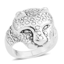 CHEETAH SOLID STERLING SILVER RING SIZE 9.5 FINE METAL BIG CAT SOLID RING AFRICA