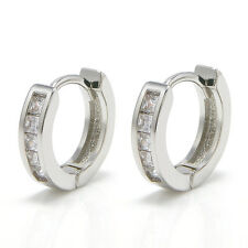 2Pcs Stainless Steel Rhinestone Crystal Huggie Hoop Studs Earrings JEWELRY gift