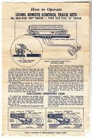 [43968] 1950 LIONEL REMOTE CONTROL No. 6019 TRACK SETS INSTRUCTIONS