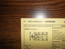 1974 Cadillac & Eldorado 472 CI V8 & 500 CI V8 SUN Tune Up Chart Great Shape!