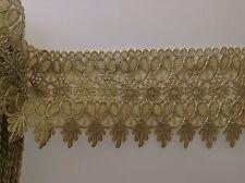 1 Yards Golden Embroidered Lace Trim DIY Sewing Crafts Vintage Decor 12cm width