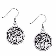 "2"" Tree of Life Forest Circle Nature Silver Tone Lightweight Dangle Earrings"