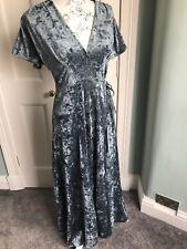 French Connection Blue Velvet Maxi Dress Size 12