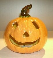 "Vintage Folk Art Ceramic Pumpkin Jack-o-Lantern Candle holder 6 1/2"" x 6"""