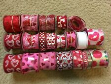 Ribbon Wire Edged Valentines Heart Love Red Pink Craft Wreath Lot