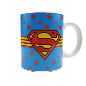 Superman DC Comics Mug Cup Ceramic 12 oz Blue Red Yellow Stars Coffee Tea