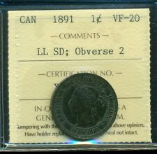1891 SDLL;Obv.#2, Canada Large Cent, Victoria, ICCS Certified VF-20