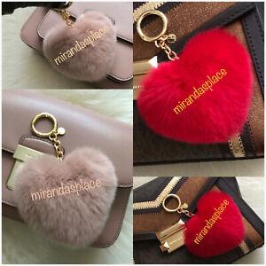 NEW Michael Kors Boxed Heart Pom Pom Keychain Keyring Charm Red