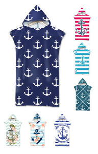 Nautical Anchor Stripes Flower Poncho Towel Hooded Bath Swim Beach Changing Robe