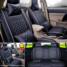 Auto Car 5-Seats PU Leather Seat Cover Cushion Front+Rear w/Neck Lumbar Pillows