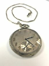 Rare Illinois illini 539 extra solid 18k white gold case chain pocket watch 13 s
