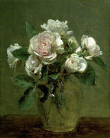 """high quality oil painting handpainted on canvas """"White Roses in a Glass Vase """""""