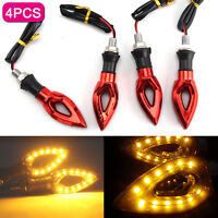 4PCS UNIVERSAL 12V MOTORCYCLE MOTORBIKE INDICATORS TURN SIGNAL LIGHT Amber LED