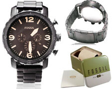 Fossil Watch Men Stainless Steel Black Brown Nate Chronograph Dial Watch JR1356