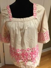 Calypso St. Barth top Size Xs Moroccan Beach Cover up tan pink embroidery NEW