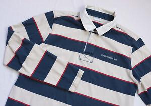 Porsche Design Rugby Polo shirt men Long Sleeve top size XL navy blue STRIPED
