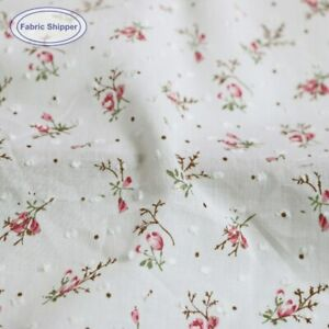 1Yard*145cm Polka Dot Jacquard Cotton Gauze Fabric Thin Floral Cotton