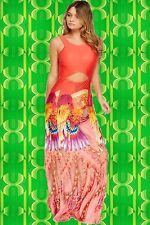 G463 Pop Art Indian Sprit Boho Hippie Maxi Kleid Phoenix Cut Outs koralle bunt