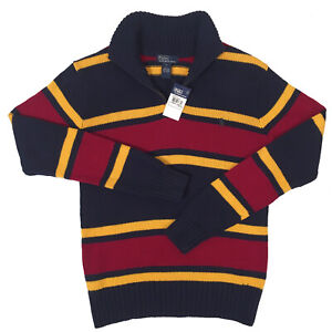 NEW Polo Ralph Lauren Boys Sweater!  Navy or Green Stripes  Zip Neck  SLIM FIT