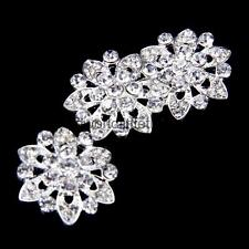 10pc Diamante Pearl Flower Buttons Wedding Flatback Craft Embellishment 22mm