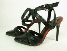 """Paper Fox Sommer 4"""" High Heels Pointed Toe Ankle Strap Women's 7 1/2 Black Red"""