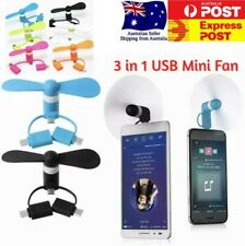 Mobile Phone 3 In 1 USB Mini Fan Portable Noiseless For Iphone Android Type C