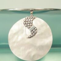 Unique White Mother of Pearl Shell Handmade Pendant 925 Sterling Silver Necklace