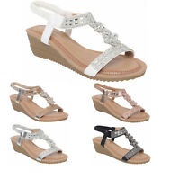 Womens Wedge Sandals Ladies Heel Strappy Summer Dress Party Sling Back Shoes 3-8