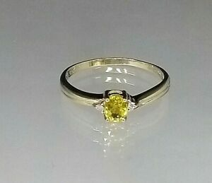Fantastic  Yellow Sapphire Solitaire Diamond Accents  Ring 9ct Yellow Gold  Sz R