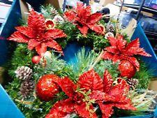 "Decorated 30"" Poinsettia Wreath with 50 LED Lights NIOB"