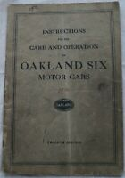 1926 Oakland Six Twelfth Edition Instruction Book Owners Manual