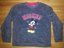 Disney Sweatshirt Sz XL Solid Gray Red Trim Mickey Mouse Logo on Front c442