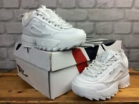 FILA DISRUPTOR II WHITE SILVER LOGO TRAINERS VARIOUS SIZES CHILDRENS GIRLS   EP