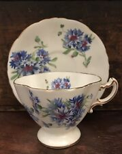 Vtg Royal Hammersley Bone China Teacup Saucer Blue Flower Floral Pattern Set