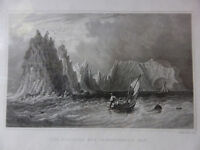 Antique engraving VIEW of NEEDLES & SCRATCHELL'S BAY, ISLE OF WIGHT c1830 Veduta