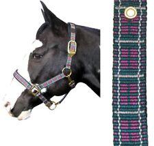 Plaid Nylon Padded Halter Horse Sized Nwt By Intrepid Green And Fushia