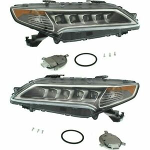 FITS FOR ACURA TLX 2015 2016 2017 HEADLIGHT W/LED RIGHT & LEFT PAIR SET