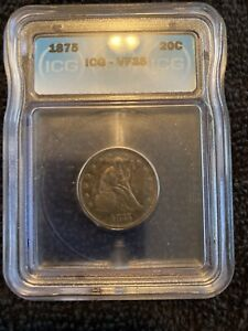 1875 Seated Liberty Twenty Cent Piece VF Very Fine 90% Silver 20c Type Coin