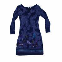 White Stuff Women's Mini Dress 8 Blue, Blend - wool, other