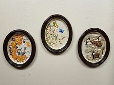 3 Vintage 1963 Irene Smith Chalkware Wall Art Hangings - Nature / Bird Scenes