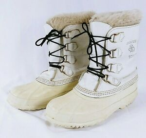 Sorel Pack Boots Size 8 Womens Manitou Winter Boots Felts White Leather Upper