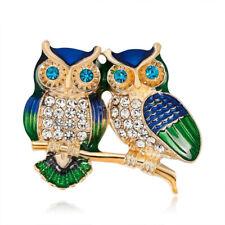 Fashion Crystal Owl Charm Enamel Animals Brooch Pin Shirt Party Women Costume