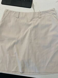Nike Golf Tech Skort Skirt Womens size 12 Dry Fit UV Beige Khaki outdoor  A39