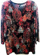 WHITE STAG Blouse-XL-Fall Evening Wear-Floral Red/Black-Scoop neck-Fullly Lined